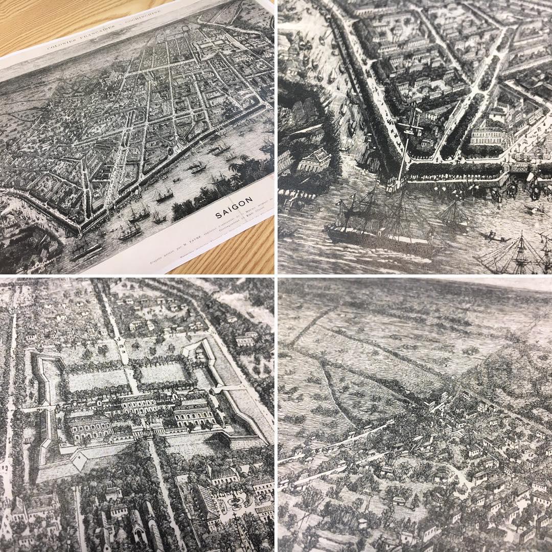 1880年代の古いサイゴンの複製地図。ミニチュアのようで見ていて飽きない。Enjoying a copy of an old #saigon map. Such miniatures.